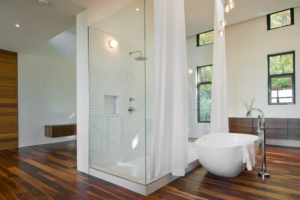 Стеклянные аксессуары для ванной в виде двери из стекла